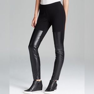 DKNY Faux Leather Panel Leggings - size Medium